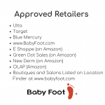 image of a list of approved baby foot retailers